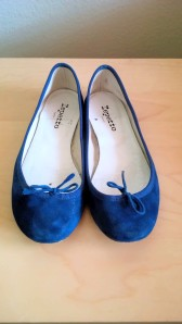 Repetto, Ballerina Cendrillon in metallic goatskin suade Cargo blue