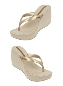 Beige wedge flip-flop with gold straps by Ipanema