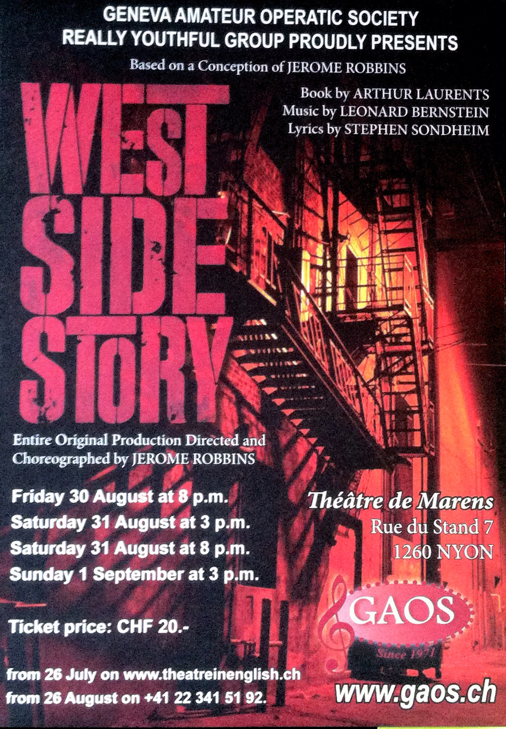 Don't miss Jerome Robbins' production of West Side Story